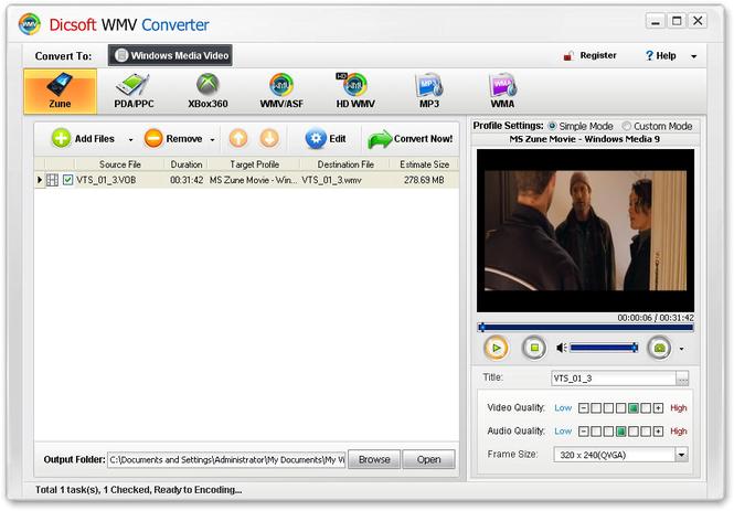 Dicsoft WMV Converter Screenshot