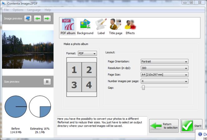 Contenta Images2PDF for Mac Screenshot 1