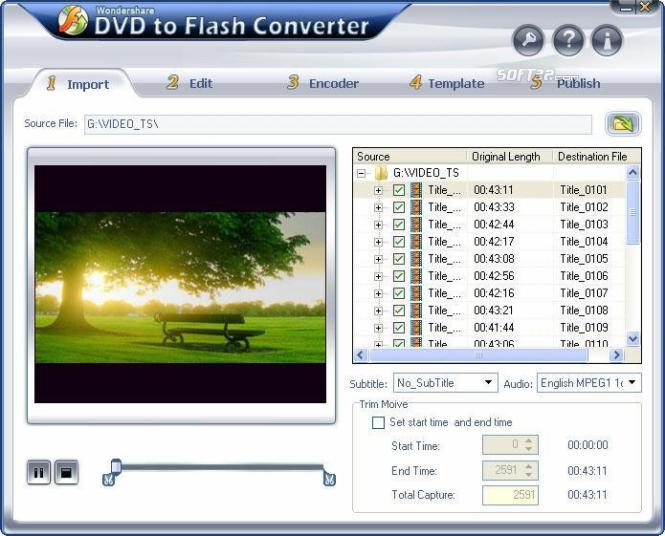 Wondershare DVD to Flash Converter Screenshot 1