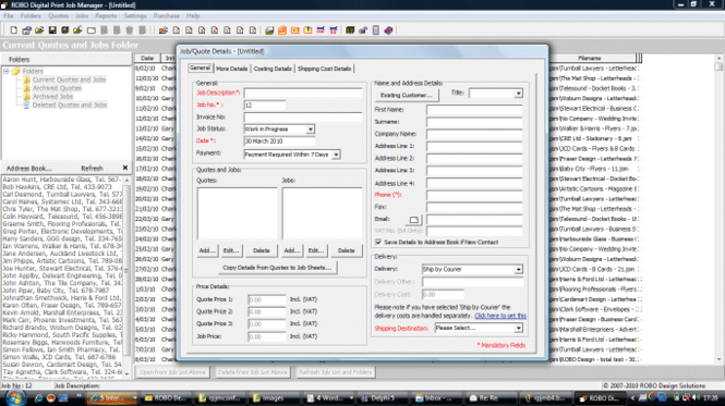 ROBO Digital Print Job Manager Metric Screenshot