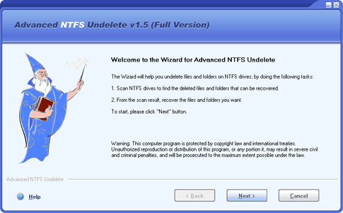 Advanced NTFS Undelete Screenshot