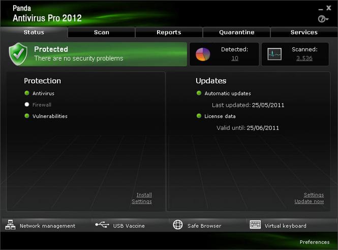Panda Antivirus Pro 2010 Screenshot
