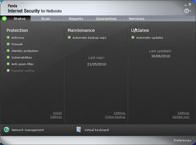 Panda Antivirus for Netbooks Screenshot