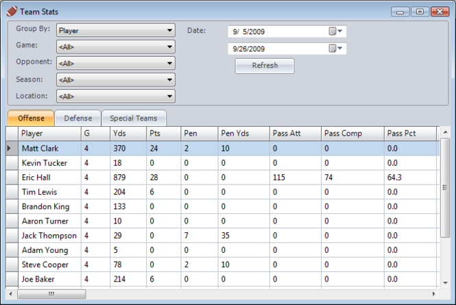 Football Stat Manager Screenshot
