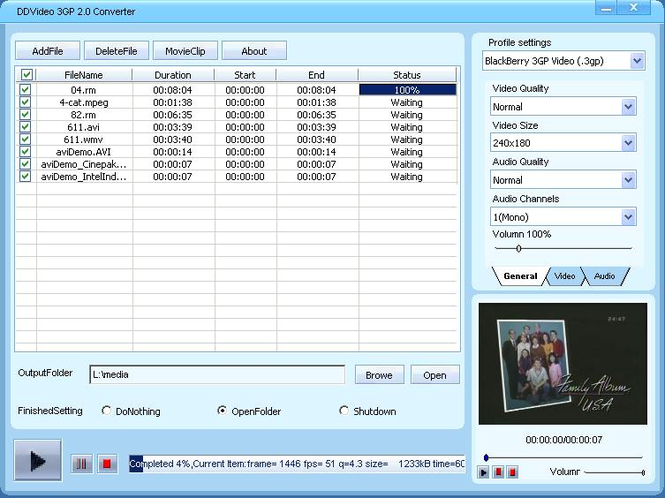 DDVideo 3GP Video Converter Screenshot 1