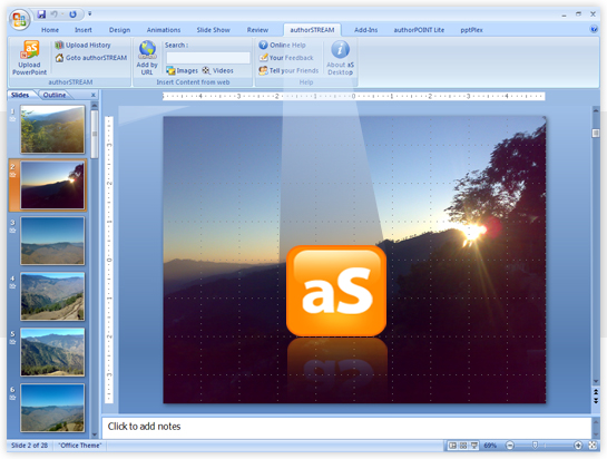 authorSTREAM Desktop - PowerPoint Add-in Screenshot 1
