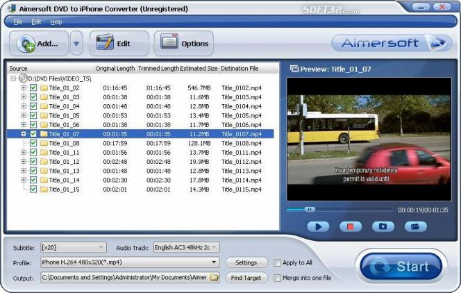 Aimersoft DVD to iPhone Converter Screenshot 1