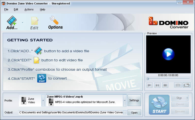 Domino Zune Video Converter Screenshot