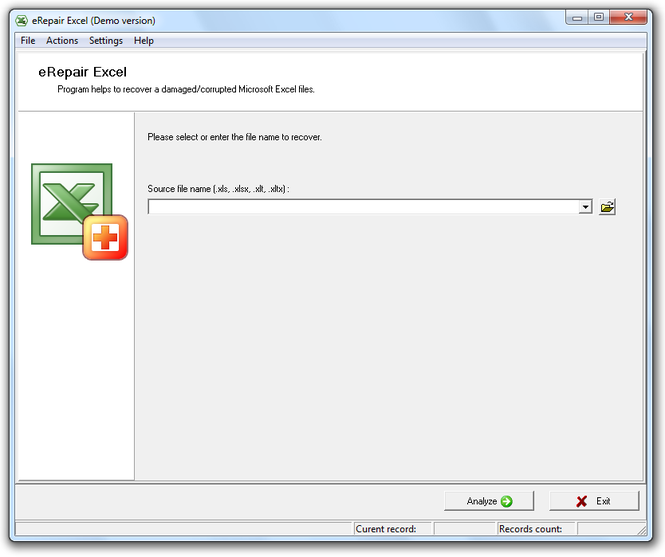 eRepair Excel Screenshot