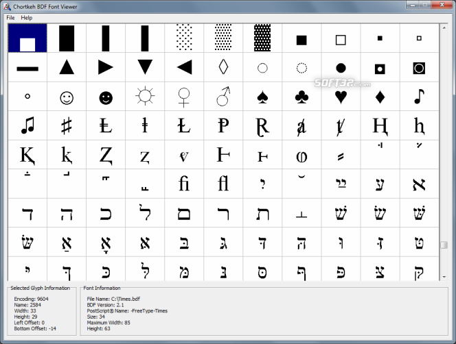 Chortkeh BDF Font Viewer Screenshot 2