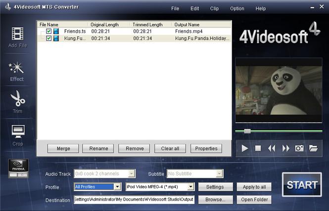 4Videosoft MTS Converter Screenshot 2