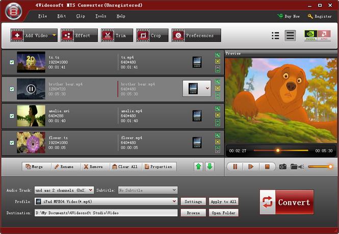 4Videosoft MTS Converter Screenshot