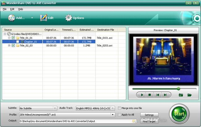 Wondershare DVD to AVI Converter Screenshot