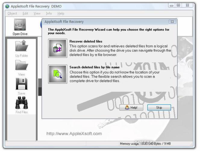 AppleXsoft Windows File Recovery Screenshot 2
