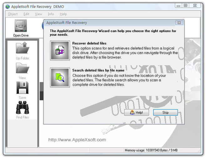 AppleXsoft Windows File Recovery Screenshot