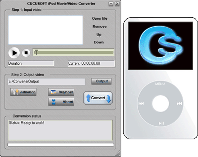 8Bits CuCu iPod Movie/Video Converter Screenshot