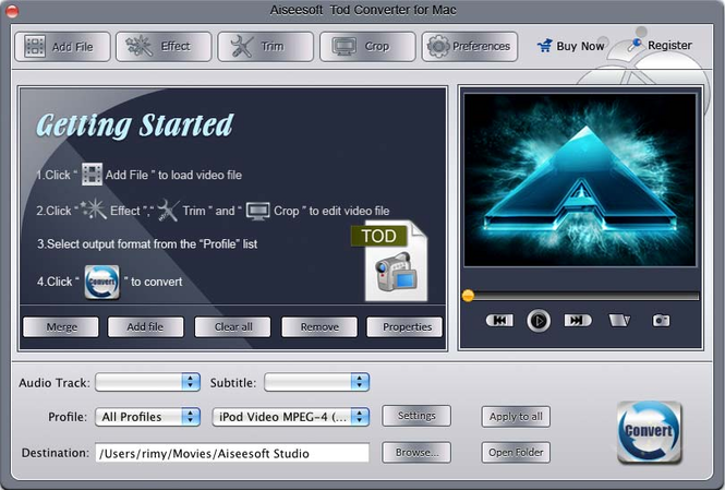 Aiseesoft Tod Converter for Mac Screenshot