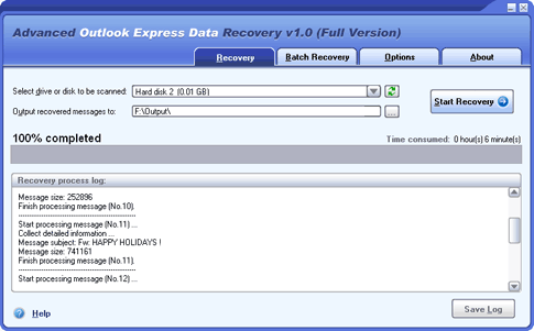 Advanced Outlook Express Data Recovery Screenshot