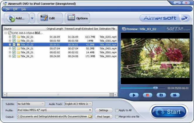 Aimersoft DVD to iPod Converter Screenshot 1