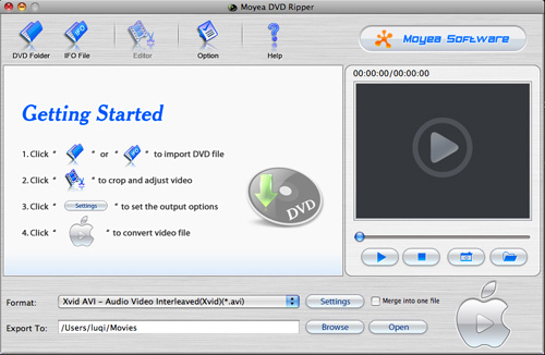 Moyea DVD Ripper for Mac Screenshot