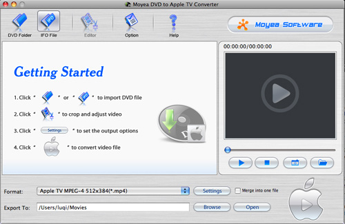 Moyea DVD to AppleTV Converter for Mac Screenshot 1