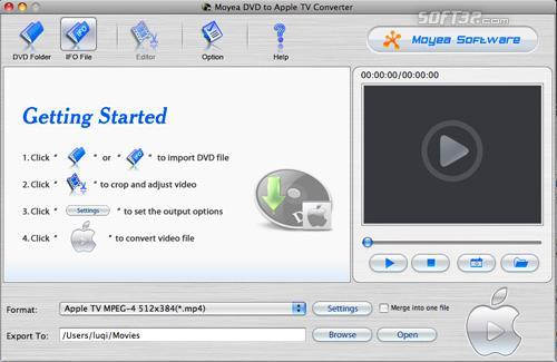 Moyea DVD to AppleTV Converter for Mac Screenshot 2