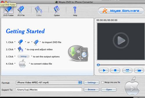 Moyea DVD to iPhone Converter for Mac Screenshot