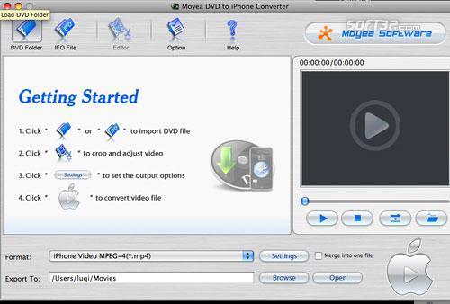 Moyea DVD to iPhone Converter for Mac Screenshot 2