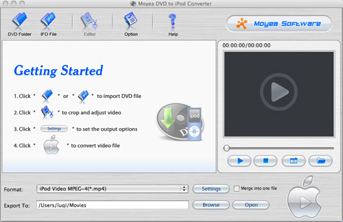 Moyea DVD to iPod Converter for Mac Screenshot