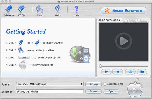 Moyea DVD to iPod Converter for Mac Screenshot 2