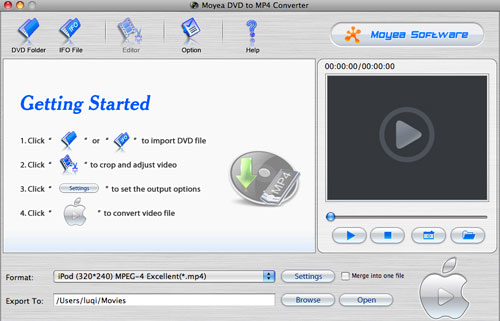 Moyea DVD to MP4 Converter for Mac Screenshot