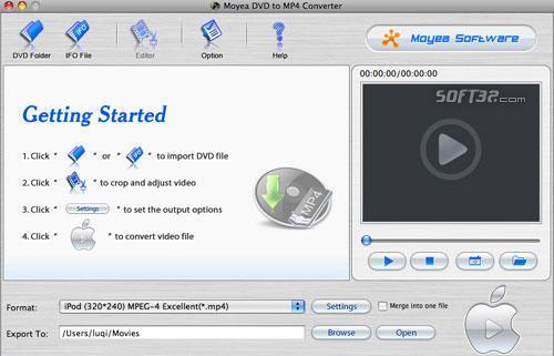 Moyea DVD to MP4 Converter for Mac Screenshot 2