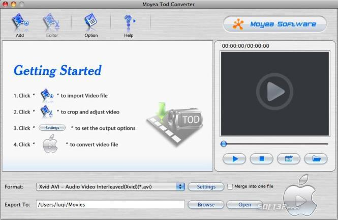 Moyea TOD Converter for Mac Screenshot 2