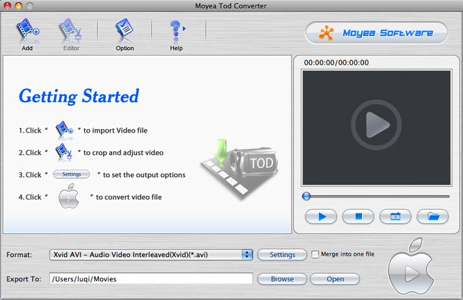 Moyea TOD Converter for Mac Screenshot