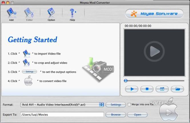 Moyea MOD Converter for Mac Screenshot 2
