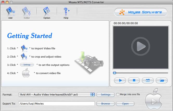 Moyea MTS/M2TS Converter for Mac Screenshot 1