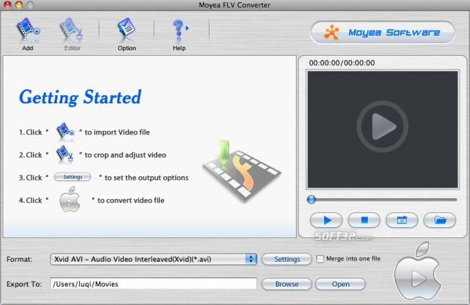 Moyea FLV Converter for Mac Screenshot 2