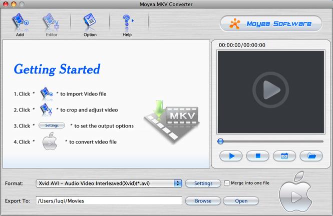 Moyea MKV Converter for Mac Screenshot 1