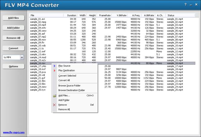 HooTech FLV MP4 Converter Screenshot