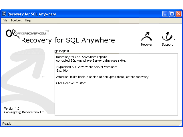 Recovery for SQL Anywhere Screenshot