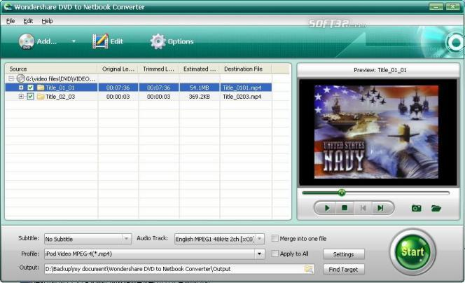 Wondershare DVD to Netbook Converter Screenshot 1