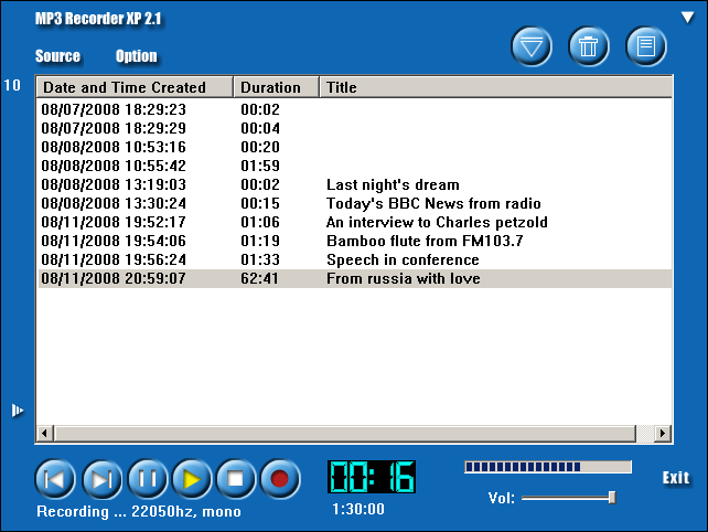MP3 Recorder XP Screenshot