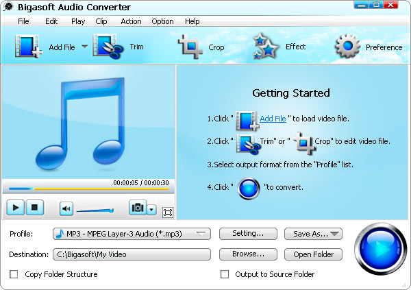 Bigasoft Audio Converter Screenshot 1