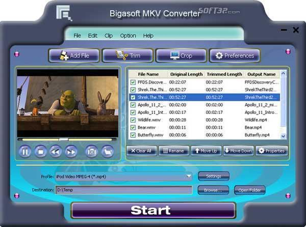 Bigasoft MKV Converter Screenshot 3