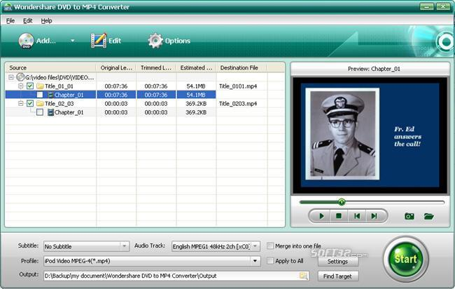Wondershare DVD to MP4 Converter Screenshot