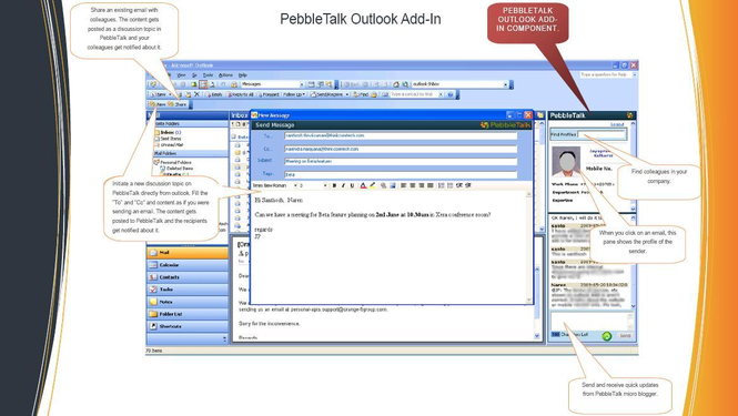 PebbleTalk: Collaboration from Outlook Screenshot
