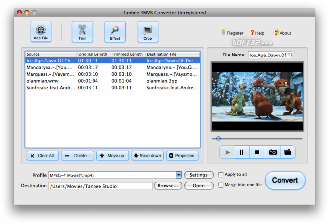 Tanbee RMVB Converter for Mac Screenshot
