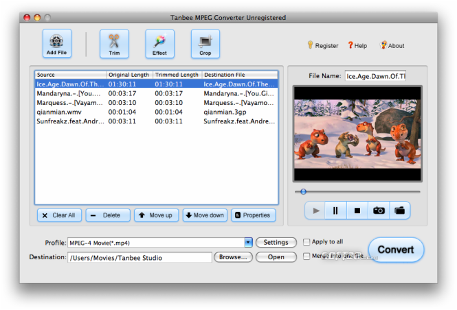 Tanbee MPEG Converter for Mac Screenshot