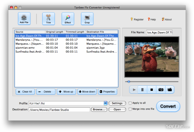 Tanbee FLV Converter for Mac Screenshot
