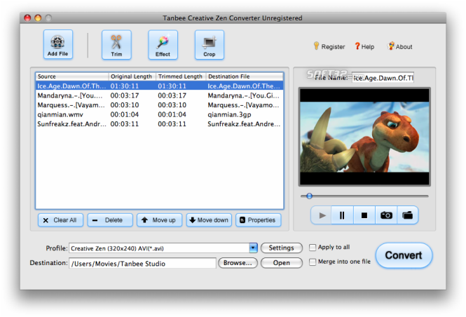 Tanbee Creative Zen Video Converter for Mac Screenshot